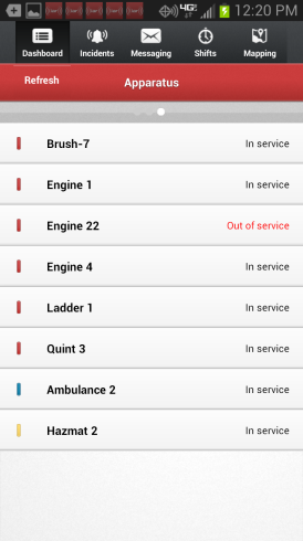 Android App Overview Dashboard: The 3-screen Dashboard slides right and left, and displays who is responding, who is on duty, and the status of your apparatus.