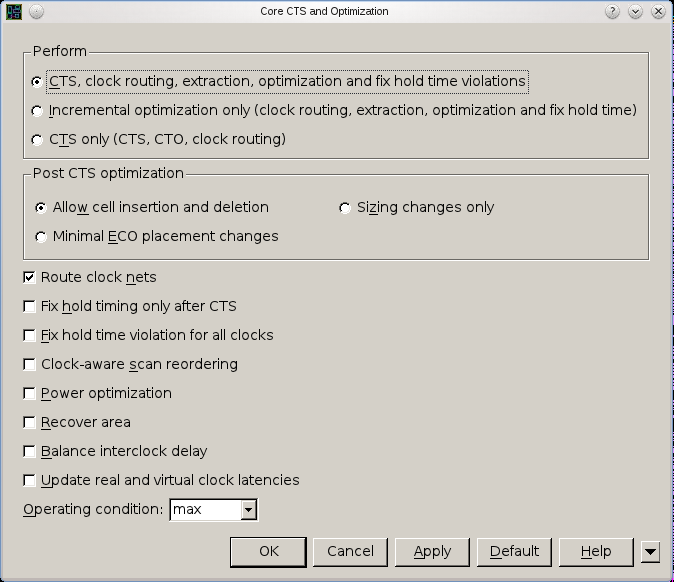 15. Clock Tree Synthesis Click Clock->Core CTS and Optimization