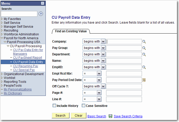 Enter data in CU Payrll Data Entry in PepleSft Departments/Budget Centers enter infrmatin in CU Payrll Data Entry pages (paysheets) using the CU PaySheet Reprt as the wrksheet fr entering data.