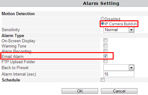 Go back to alarm settings and enable Email Alarm to finfish the whole e-mail alarm settings. Notice: 1. Please check the basic network settings of the camera if failed in test, 2.