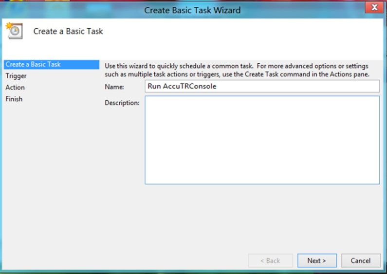 A Create Basic Task Wizard Window looks like this.