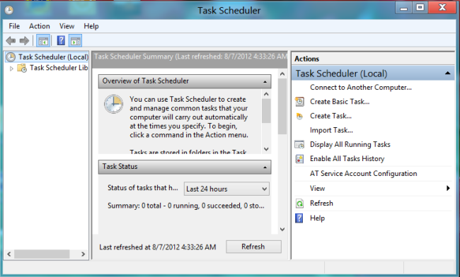 "4. You now see the ""Task Scheduler"" Window."