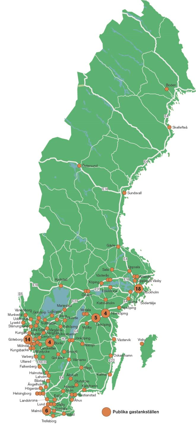 Sweden Small gas grid and low gas consumption Transportation challenge for being fossil free 92 % fossil 57 upgrading plants 60 % biomethane in