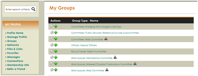 You can also find a list of your groups by clicking the Groups link in the My Profile box in the left column.