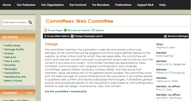 Please note the Charge for committees will be at the top of the main column.