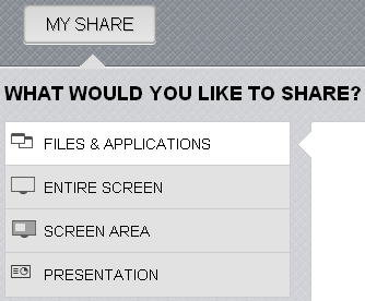 Meeting Client Meeting Tools Application and Presentation Share Sharing overview The Share tab allows presenters and moderators to share applications, presentations, and desktop views with meeting
