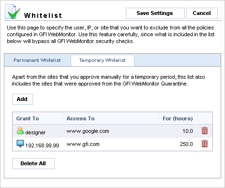 To add an item to the Permanent Whitelist: 1. Navigate to the Whitelist node and select the Permanent Whitelist tab. 2.