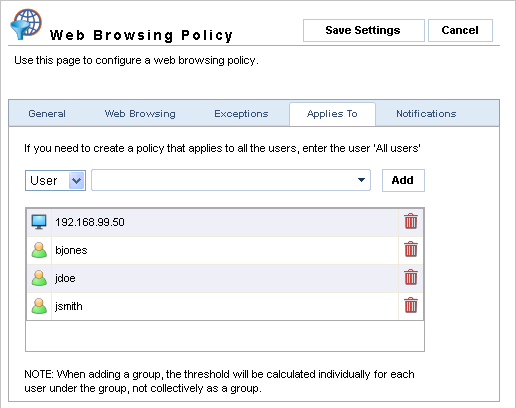 Screenshot 29 - Web Browsing Policies: Exceptions tab 7. In the Excluded Sites field specify any URLs which are to be excluded from this policy.