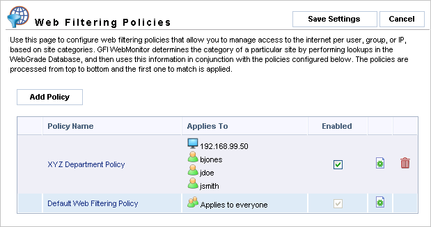 triggers a policy, GFI WebMonitor then uses the configured Web Filtering policy to determine what action to take.