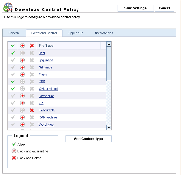 Screenshot 43 - Download Control Policies: Download Control tab 4. Select the Download Control tab and from the available list of File Types select the action to be taken for each type.