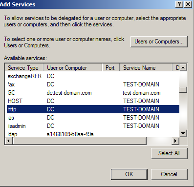 6. Click Users or Computers to select the computer hosting the constrained services. The Select Users or Computers window opens. 7. Enter the name of the protected service s server in the domain.