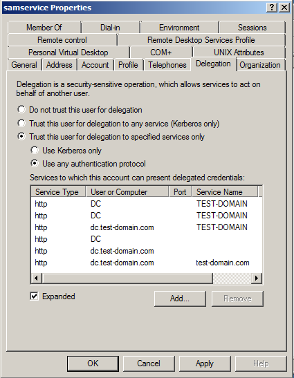 The delegated services are displayed in the user s Properties window. 10. Click Apply, and then click OK. Active Directory is now configured for this solution.