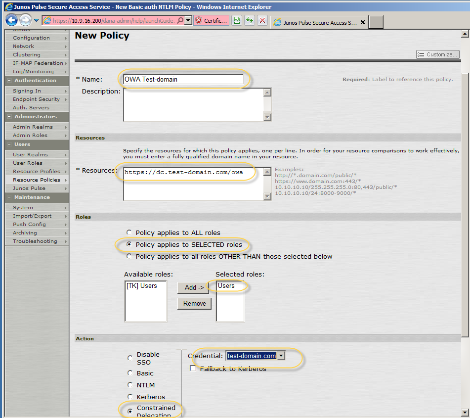 3. In Name field, enter a name for the policy. 4. In the Resource field, enter the exact fully-qualified domain name. 5.