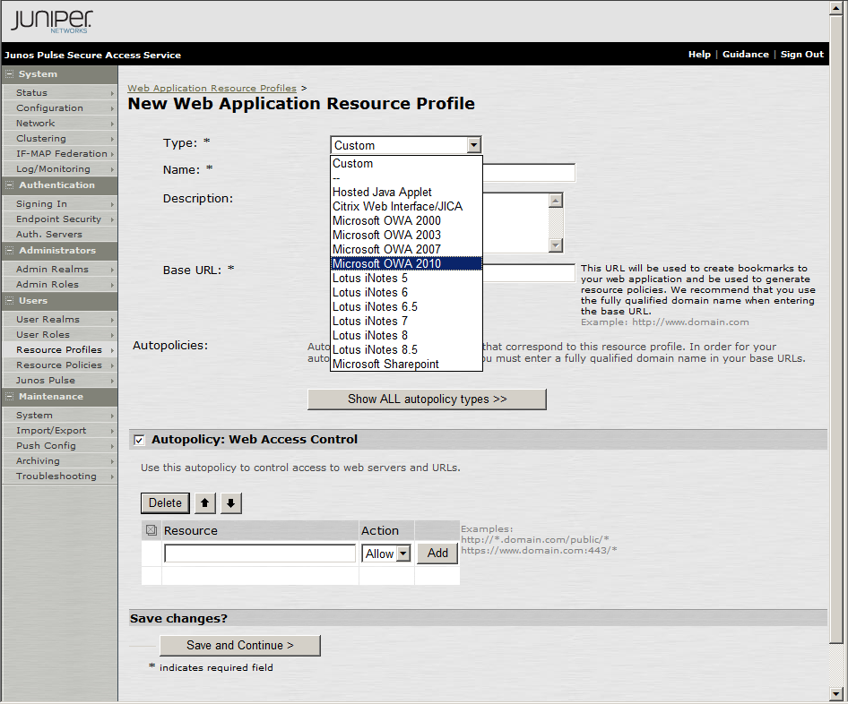 Configuring SSO Profile 1. In the SA Administrator console, select Users > Resource Profiles > Web. 2.