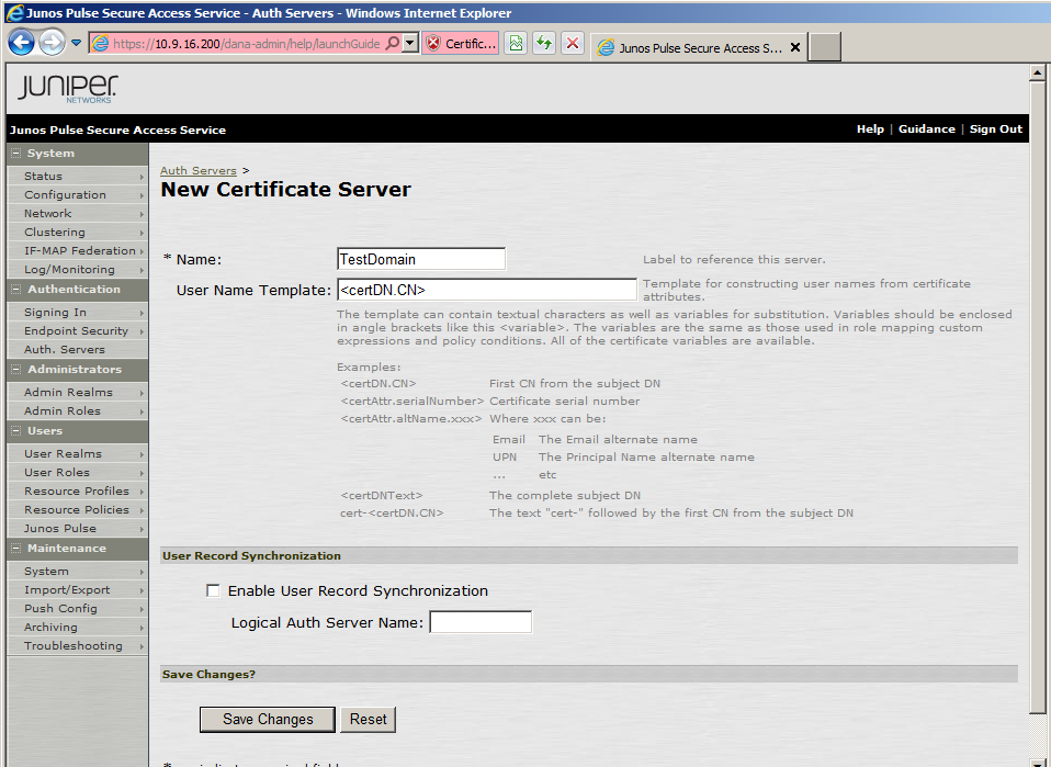 3. Click New Server. The New Certificate Server window opens. 4.