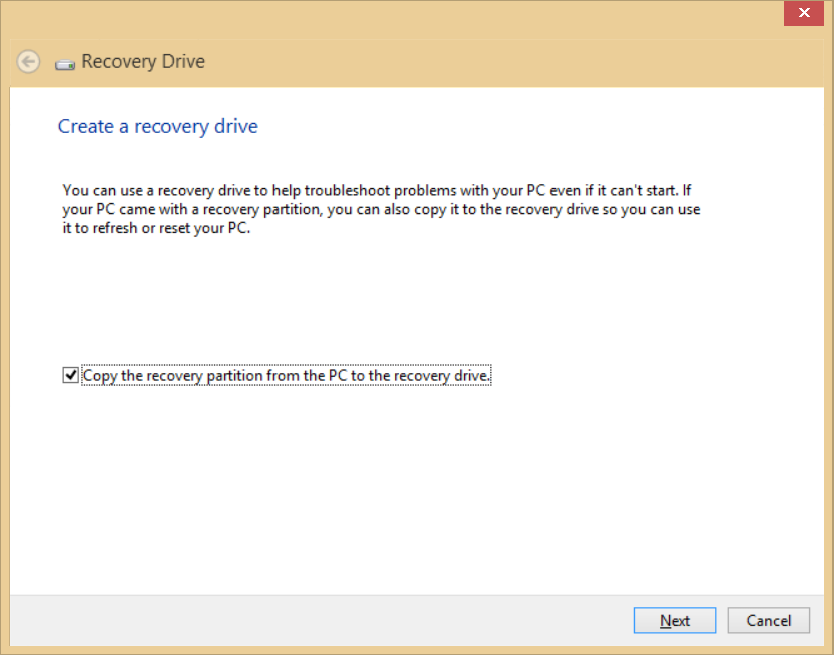 22 - Recovery 1. From Start, type 'Recovery' and then click Acer Recovery Management in the list of apps. 2. Click Create Factory Default Backup. The Recovery Drive window opens.