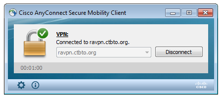 Click on Accept and a notification screen (below) will appear in the system tray in the lower right hand corner of a Windows PC. The notification shows the status of the AnyConnect VPN connection.