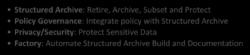 Structured Solution High Level ILG Capabilities Needed Initiation, Analysis & Design Assess: Find structured data sources and sensitive data assists with the archive roadmap Discovery: Find sensitive