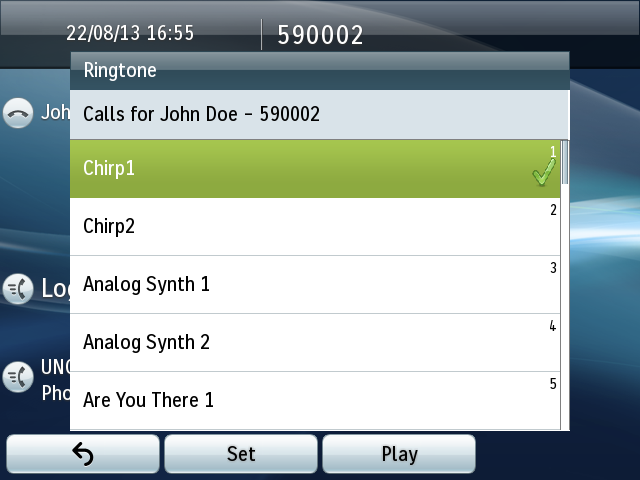 Ringtones To customize ringtones: Press application button and choose Preferences (2) Select