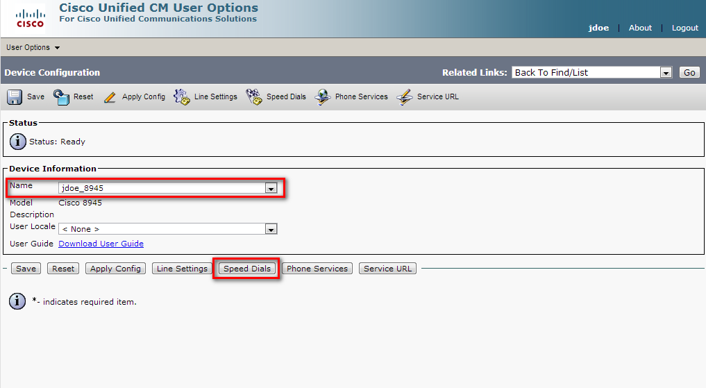 Configure Speed dials In User Options > Device Select the