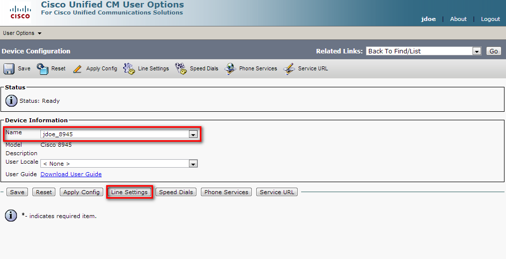 Remotely configure call forward (1) In Users Options > Device