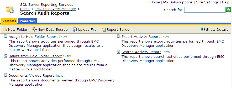 Running EMC Discovery Manager Reports Figure 114 EMC Discovery Manager reports on SQL Server 2008 Reporting Services 4.