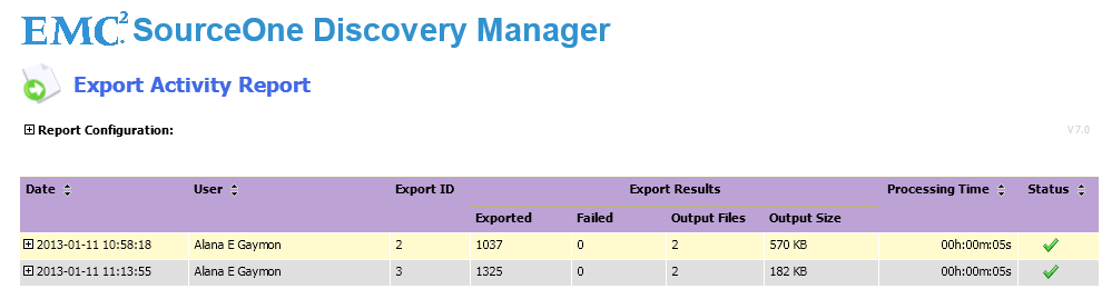Running EMC Discovery Manager Reports Table 68 Export Activity (Discovery Manager) report parameters (continued) Parameter Matter Description The list of matters depends on what you selected in the
