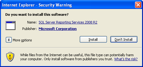 Auditing and Reporting Figure 12 Report toolbar SQL 2008 - Print icon 2. The first time you print a report: You may see the following message and dialog bo