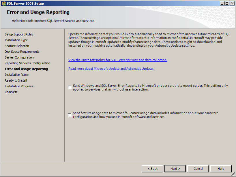 Installing EMC SourceOne Reporting 15. On the Error and Usage Reporting page, leave the default settings.