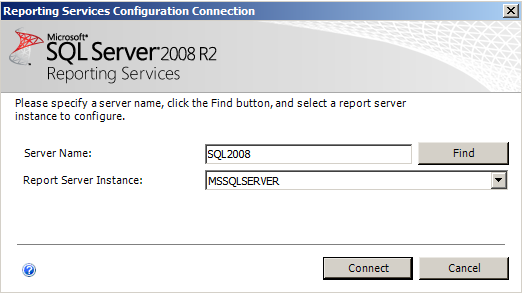 Installing EMC SourceOne Reporting Figure 25 Reporting Services Configuration Connection - SQL Server 2008 Figure 26 Reporting Services Configuration Connection - SQL Server 2008 R2 Step 2: Specify