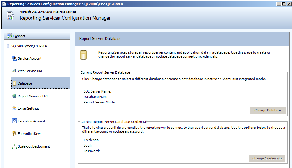 Installing EMC SourceOne Reporting 2. In the right pane, click Change Database. Figure 29 Report Server Database The Change Database dialog box opens. 3.