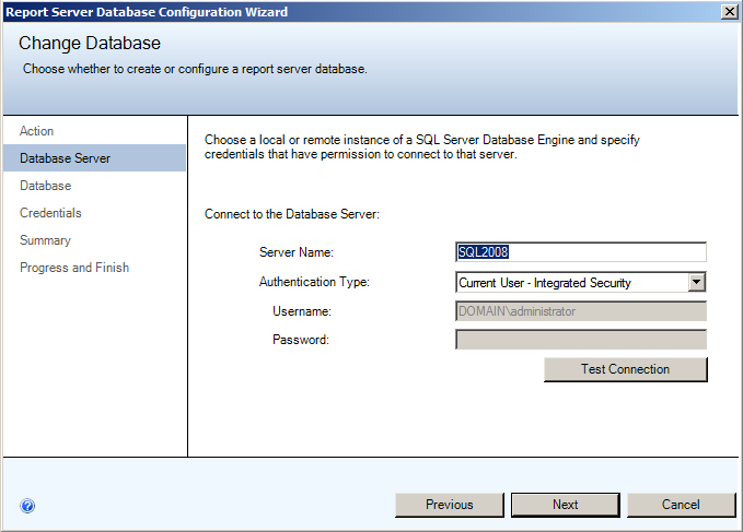 Installing EMC SourceOne Reporting Figure 31 Change Database - Database Server 4. Click Next. Step 4C: Change Database - Database page On the Database page of the Change Database dialog box: 1.