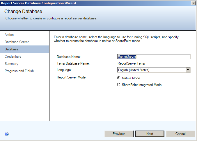 Installing EMC SourceOne Reporting Figure 32 Change Database - Database 4. Click Next. Step 4D: Change Database - Credentials page 1.