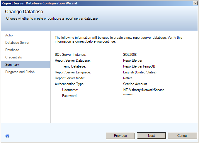 Installing EMC SourceOne Reporting Figure 33 Change Database - Credentials 2. Click Next.