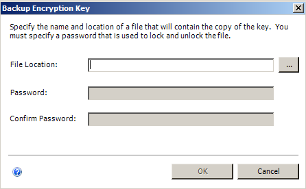 Installing EMC SourceOne Reporting Figure 39 Encryption Keys 3. In the Backup Encryption Key dialog box, specify the security password an