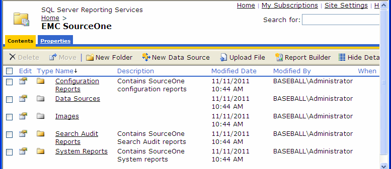 Installing EMC SourceOne Reporting Authenticating with the EMC SourceOne Activity database If your Reporting Services are on a different computer than the one that hosts EMC SourceOne Activity