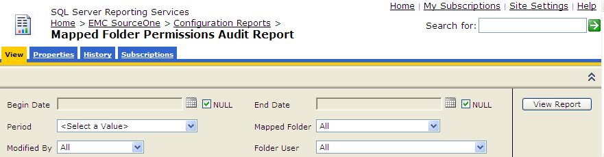 Running EMC SourceOne Reports Figure 59 Parameters for Mapped Folder Permissions Audit report Table 8 Parameters for Mapped Folder Permissions Audit report Parameter Begin Date End Date Period