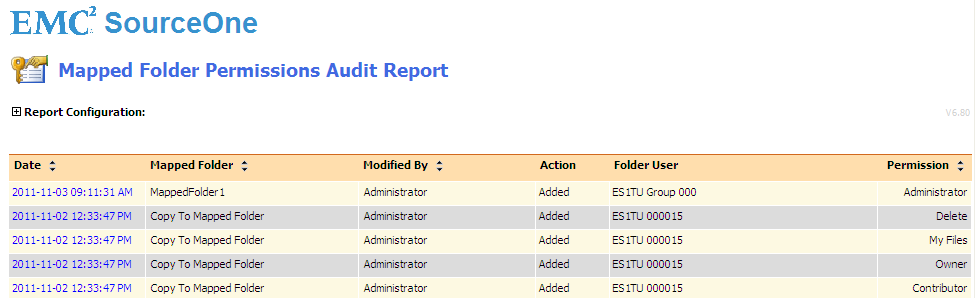 Running EMC SourceOne Reports Table 8 Parameters for Mapped Folder Permissions Audit report (continued) Parameter Folder User Description Select the user whose permissions you want to view.