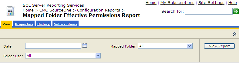 Running EMC SourceOne Reports Mapped Folder Effective Permissions report The Mapped Folder Effective Permissions report shows the EMC SourceOne mapped folder permissions that were in effect for a
