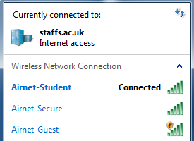 Windows 7 1. Click on the Wi-Fi icon in the system tray to reveal a list of available wireless networks. 2. Click on Airnet-Student and then click Connect. 3.