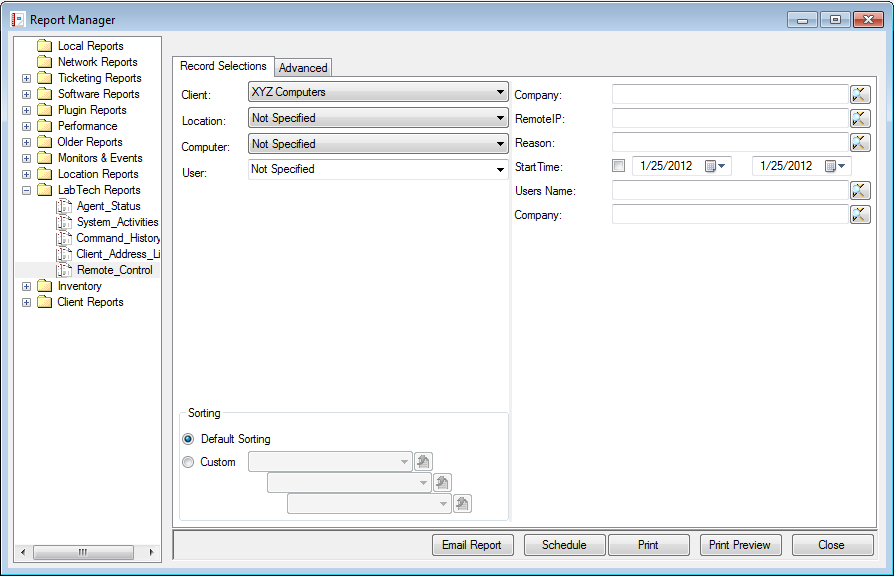 Figure 40: Report Manager 3. Click on the Print Preview button to preview the report. If you wish to print without previewing the report, click on the Print button.
