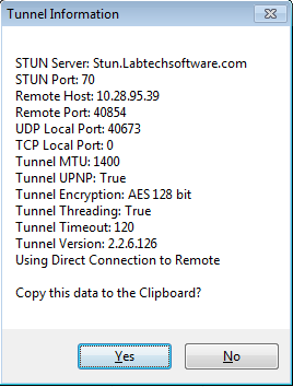 Figure 7: Starting Tunnel TIP: Click on the tunnel indicator to open the Computer Management window for that computer or [Ctrl-click] on the tunnel indicator to get additional tunnel information (e.g., server, port, remote port, local port, MTU, UPNP, timeout, and tunnel version).