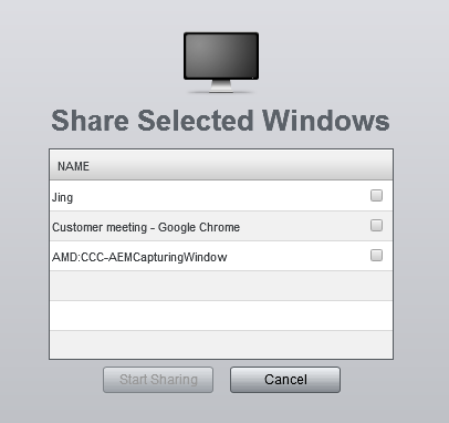 Show your computer screen You can choose what you want to share Click the Screen Sharing button to open a menu (1) Shares