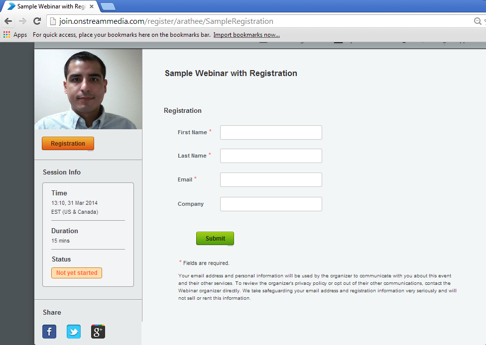 Registration page Keep track of your registrants Session Title Mandatory