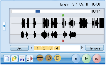 tracks. The audio graphs allow students to view and compare the intonation pattern of their recorded output with the program source. This is especially useful during pronunciation exercises.