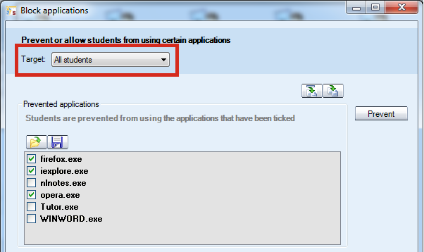SHOW STUDENT APPLICATION Clicking this item will launch student recorders on the student screens.