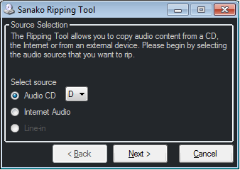 RIPPING TOOL The Sanako Ripping Tool allows teachers to copy their favorite content as media files onto the Study playlist from a CD, an Internet source, or from an external source.