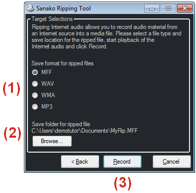 To rip audio from an Internet source (1) Select a file format for the ripped audio files (2) Select a folder where the ripped audio files will be saved (3) Click Record to start copying RIPPING AN