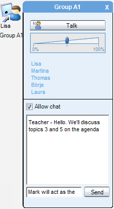 Chairperson can also Give any student the right to speak just by clicking on a student name in the Participants window.