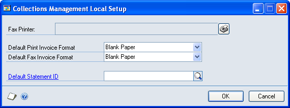 CHAPTER 1 COLLECTIONS MANAGEMENT SETUP Setting up fax printer and invoice formats Use the Collections Management Local Setup window to enter default invoice and fax printer information.